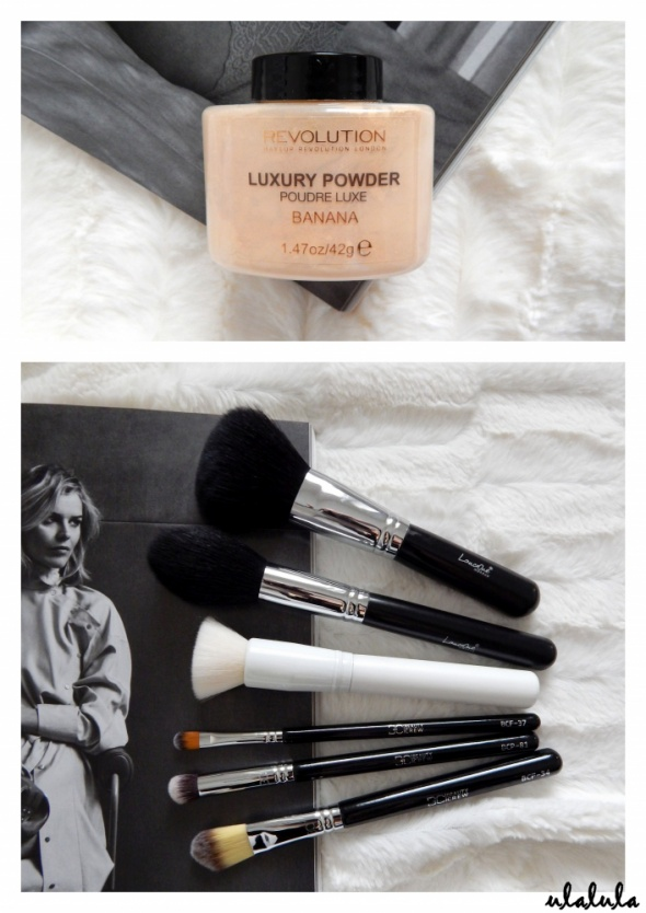 Revolution Makeup Luxury Powder Banana puder ECOntour Beauty Crew LancrOne pędzle do makijażu