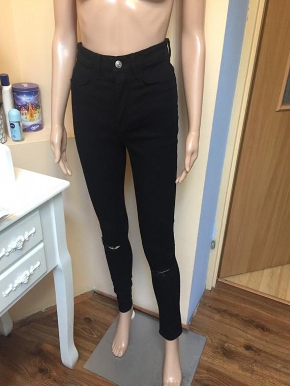Nowe spodnie czarne wysoki stan dziury XS...