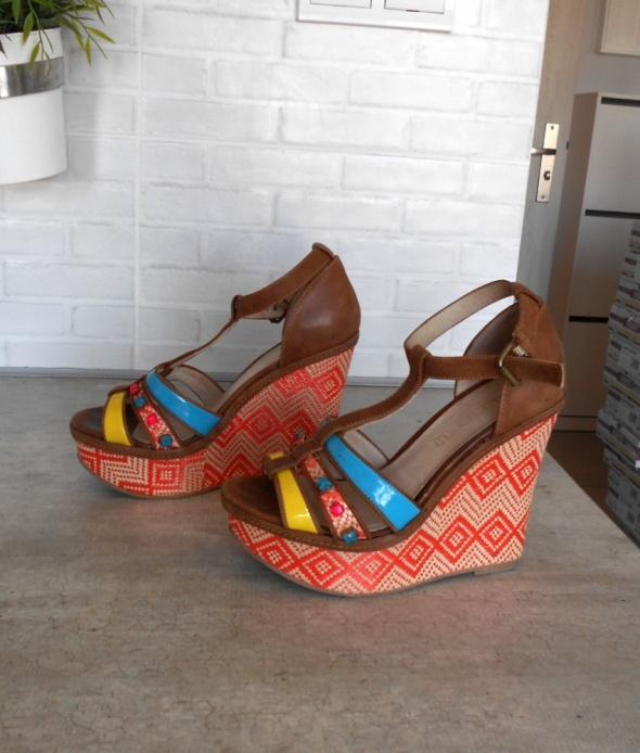 Aldo koturny sandały na lato azteckie wzory print paski skóra s...
