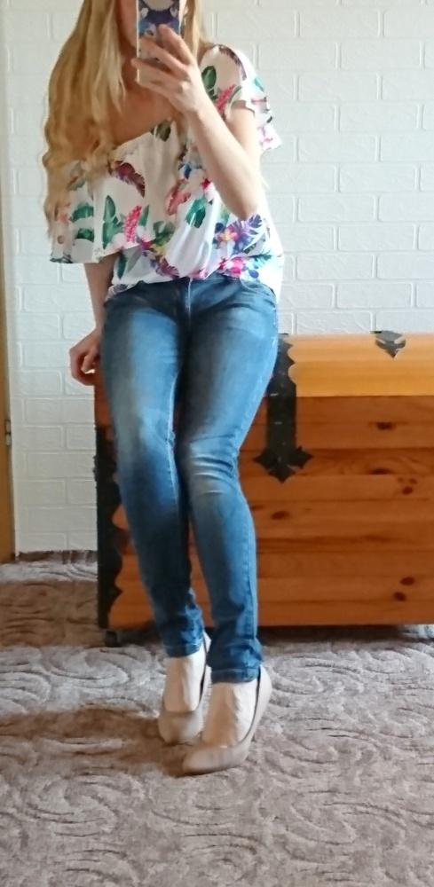 Jeansy rurki skinny C&A przecierane cieniowane...