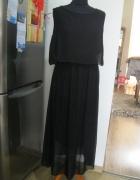 długa zwiewna sukienka long maxi S M czarna...