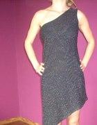 Asymetryczna czarno srebrna sukienka...