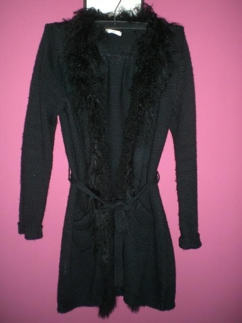 Promod czarny dlugi sweter zawiązywany w pasie 38 40