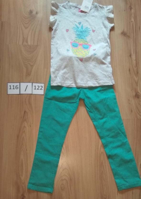 Szara bluzka z krótkim reakwem ananas i zielone spodnie gumka 116 122