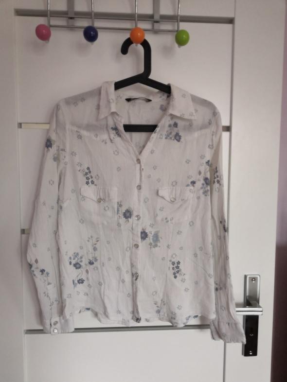 Włoska białą koszula w kwiaty floral M L