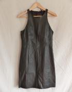Czarna skórzana sukienka mini na imprezy rozmiar M...