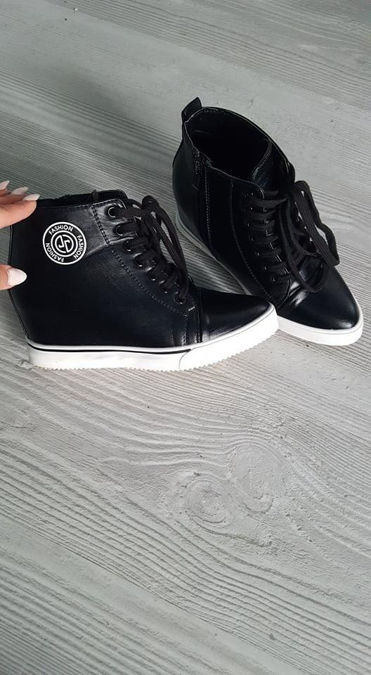czarne sneakersy 36 lu boo koturny