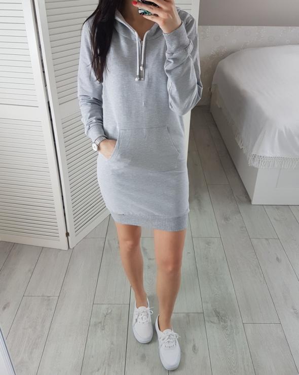 Sukienka dresowa M 38 z kapturem szara jasnoszara długa bluza kangurka
