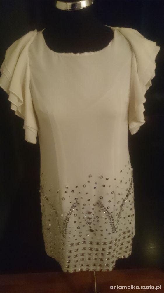 Maya Biała szyfonowa sukienka M L...