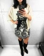 Sukienka kremowa w czarne kwiaty kimono motyl M...