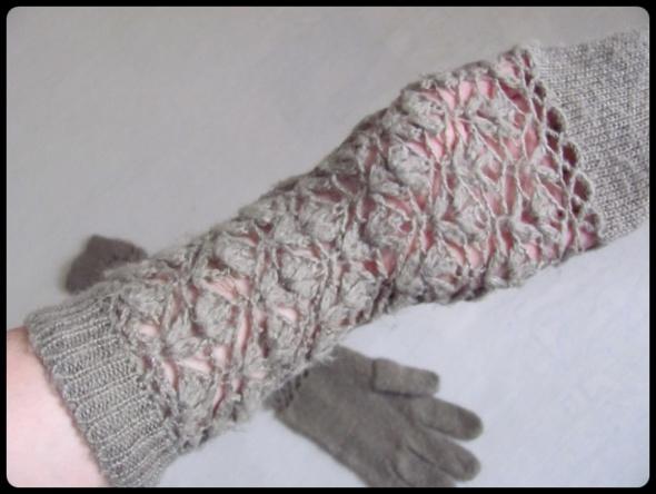Rękawiczki długie beżowe