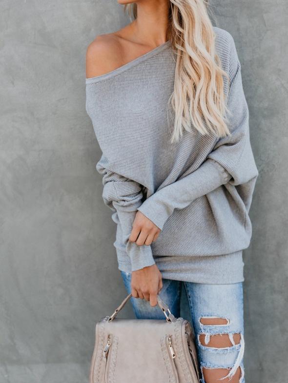 sweterek na jedno ramię szary nowy...