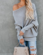 sweterek na jedno ramię szary nowy