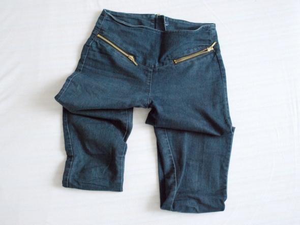 xs s granatowe jeansy z wysokim stanem zipy tregginsy jegginsy...