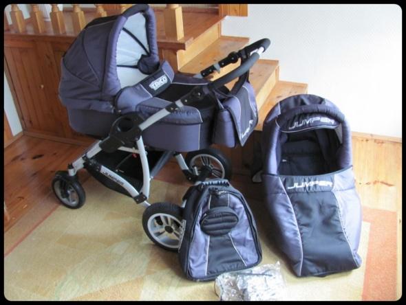 Wózek duży zestaw gondola i spacerówka torba plecak folia