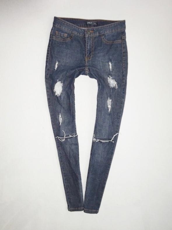 Only spodnie ciemne rurki jeans z dziurami dziury 36 S...