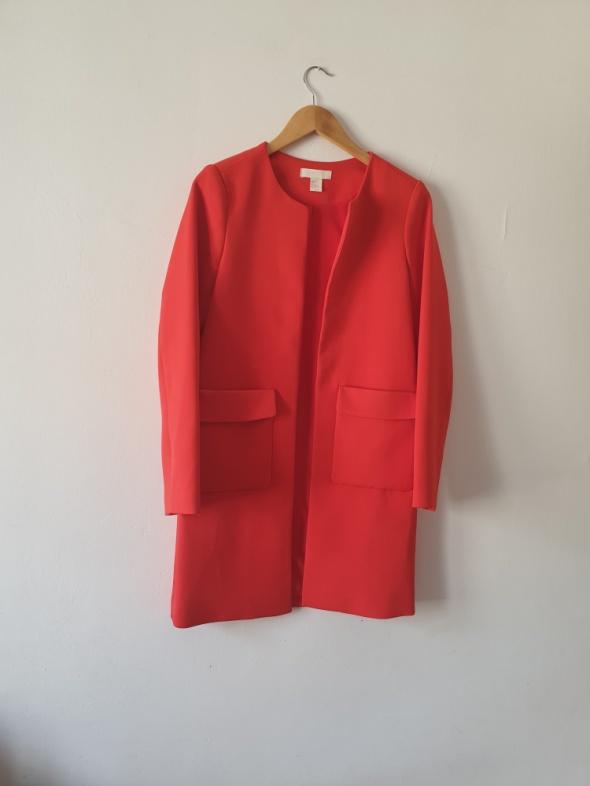 Marynarka czerwona długa płaszczyk H&M rozmiar 34