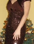 Brązowa suknia z cekinami wraz z bolerkiem...