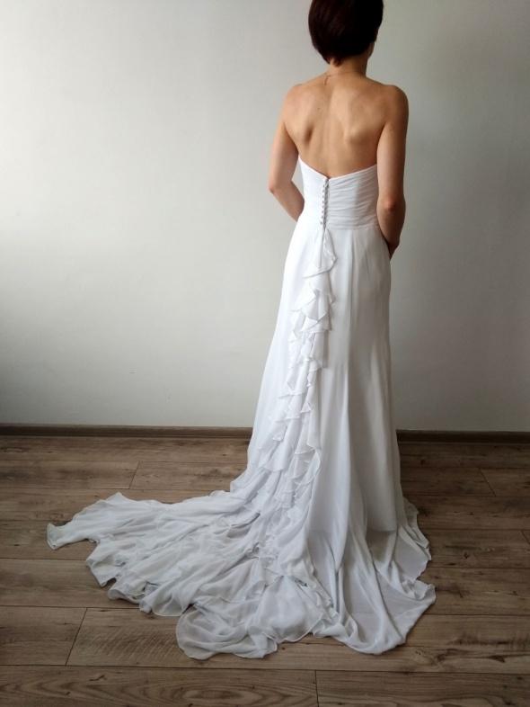 Suknia ślubna PIĘKNY TREN śnieżna biel rS
