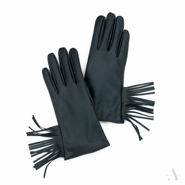 Rękawiczki Frędzle NOWE Czarne Eko Skóra Frędzelki