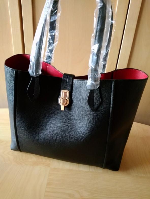 9be97bf2c3a2c0 Torebki na co dzień ZARA nowa czarna duża pojemna torba shopper z metalowym  zapięciem A4