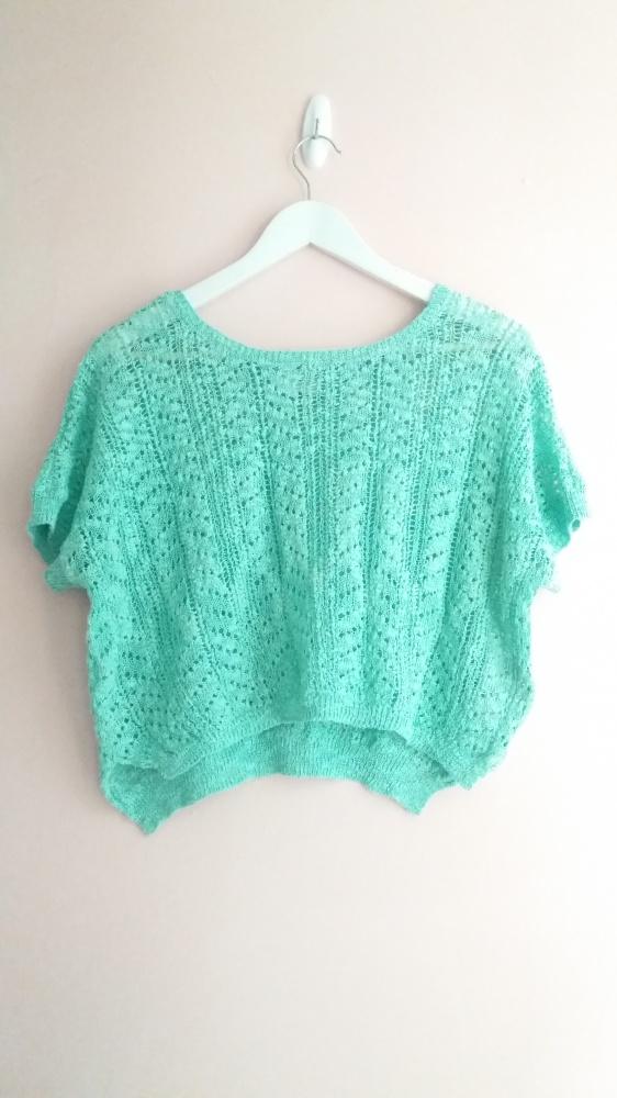 Miętowy sweterek croptop oversize New Look knitwea