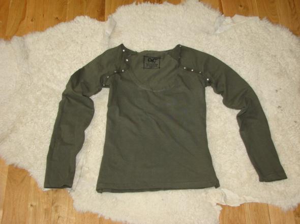 Zielona khaki bluzka z długim rękawem