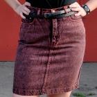 jeansowa spódnica z paskiem z ćwiekami