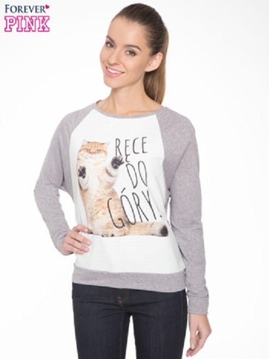 Szara dresowa bluza z nadrukiem kota