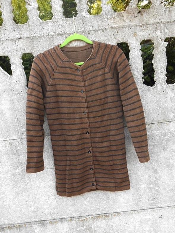 Brązowy Sweter 38 M długi rozpinany Kardigan w paski