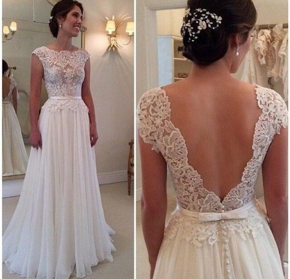 suknia ślubna koronka gołe plecy 34 36 38 40 42 44