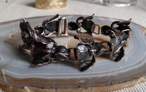 Wielka masywna srebrna bransoletka Irysy