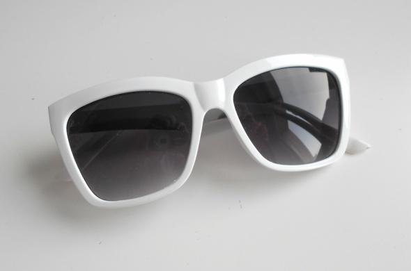 Sheinside białe duże okulary przeciwsłoneczne