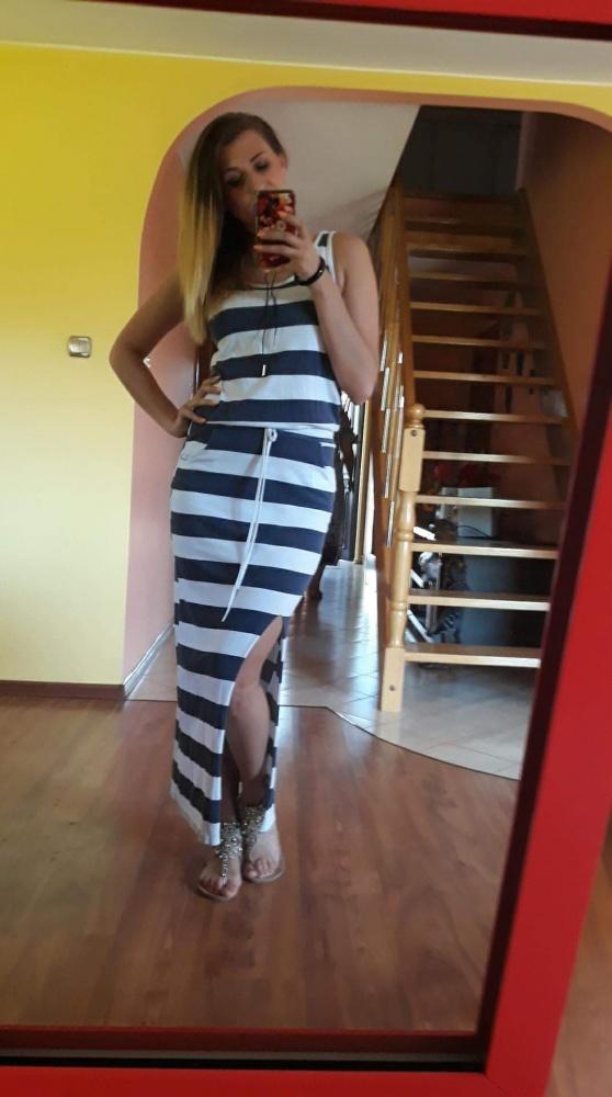 Suknie i sukienki Długa sukienka w paski