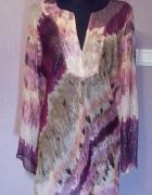 Piękna jedwabna tunika w odcieniach różu i fioletu i beżu ze sr...