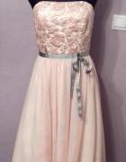 Słodka różowa sukienka r 3840 z obszywanym koronką gorsetem i r...