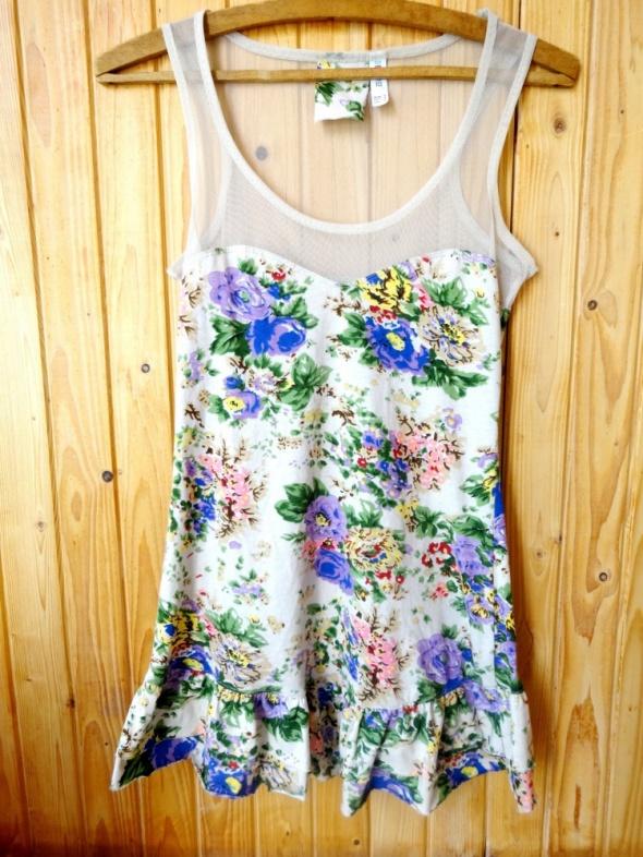 bluzka top kwiaty kremowa m 38 siatka dekolt