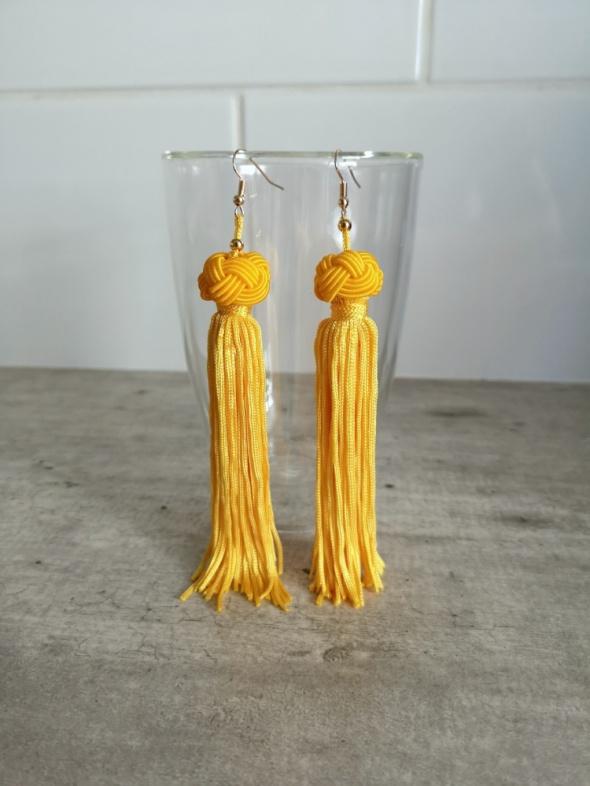 kolczyki żółte boho frędzle glamour gypsy wiszące...