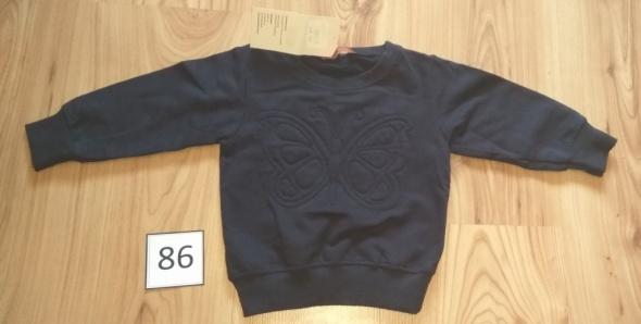 Nowa granatowa bluza z motylem dziewczęca bez kaptura 86