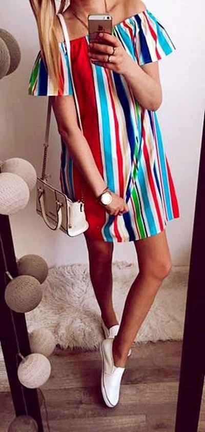 Sukienka Damska Hiszpanka w paski M