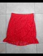 H&M nowa spódniczka czerwona kropki falbanki mini zakładana...