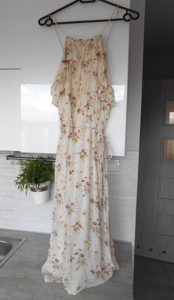 Zara sukienka zwiewna floral kwiaty cekiny falbanki