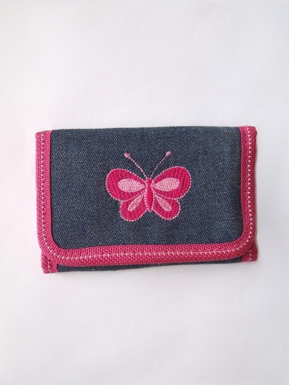 Granatowo różowy portfel z motylkiem mały na rzepy...