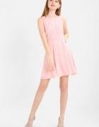 Nowa elegancka sukienka M 38 pudrowy róż koronka...