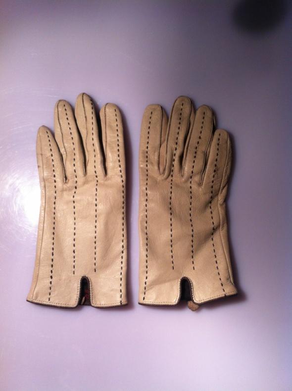Skórzane beżowe rękawiczki lata 60 M