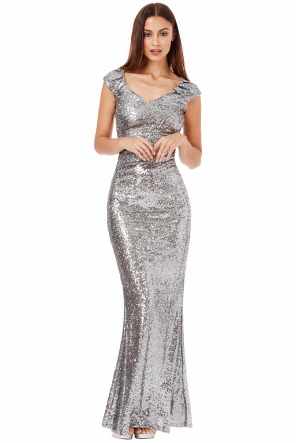 f8532bb61b7bb0 Suknie i sukienki Długa srebrna cekinowa sukienka na sylwestra z pięknym  dekoltem