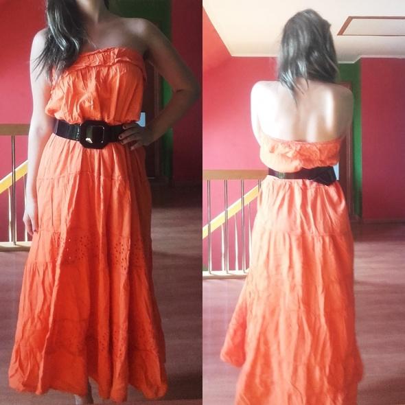Spódnice spódnica maxi pomarańcz