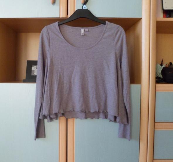 Szara bluzka Asos krótka prążkowana z długim rękawem oversize