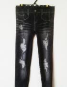 Legginsy z nadrukiem jeansy z dziurami krótkie nadruk jeans emo...