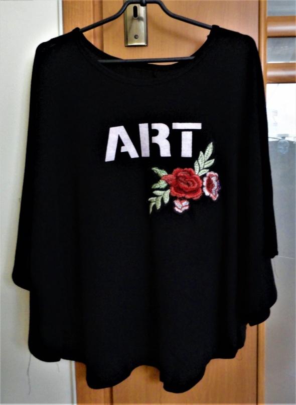 Czarna bluzka oversize nietoperz róża kwiat flower